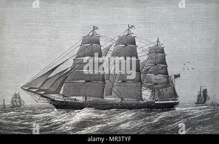 Illustration depicting a emigration ship travelling to New Zealand, from the United Kingdom. Dated 19th century - Stock Photo
