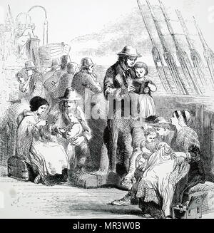 Engraving depicting families on board an emigrant ship travelling to either Australia or America. Dated 19th century - Stock Photo