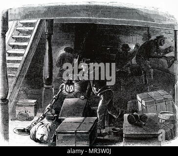 Illustration depicting crew conducting a search for stowaways on an emigrant ship travelling from Liverpool to America. Dated 19th century - Stock Photo