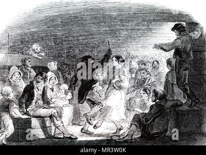 Illustration depicting emigrants dancing between decks on an emigrant ship travelling from Liverpool to America. Dated 19th century - Stock Photo