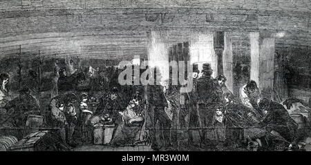 Illustration depicting the between decks on an emigrant ship travelling from Liverpool to America. Dated 19th century - Stock Photo
