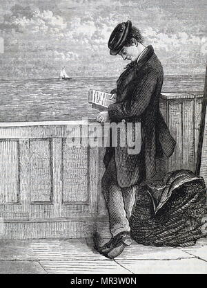 Illustration depicting an emigrant reading aboard a ship travelling to America. Dated 19th century - Stock Photo