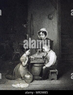 Engraving depicting young children playing draughts. Dated 19th century - Stock Photo