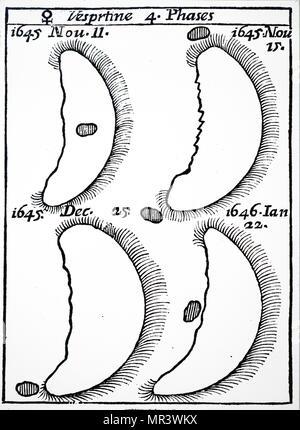 Telescopic image of the planet Venus. Dated 17th century - Stock Photo