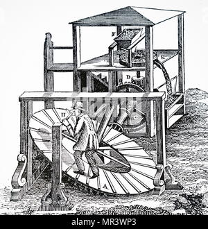 Illustration depicting a man working an inclined tread wheel. Dated 18th century - Stock Photo