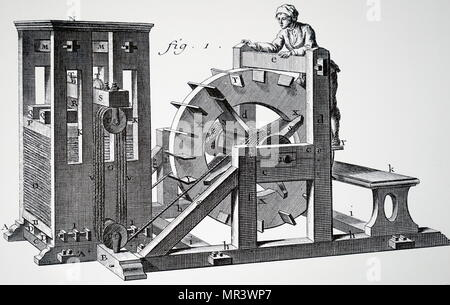 Illustration depicting a man using a tread wheel to operate a press. Dated 18th century - Stock Photo
