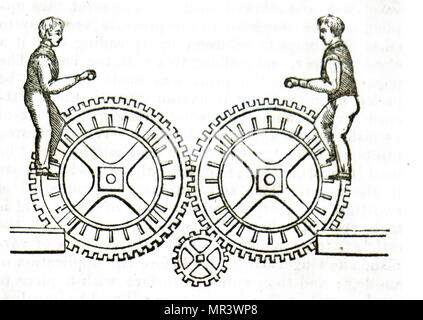 Illustration depicting a men using a tread wheel. Dated 19th century - Stock Photo