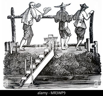 Illustration depicting a man raising a bucket of water using a tread wheel. Dated 17th century - Stock Photo