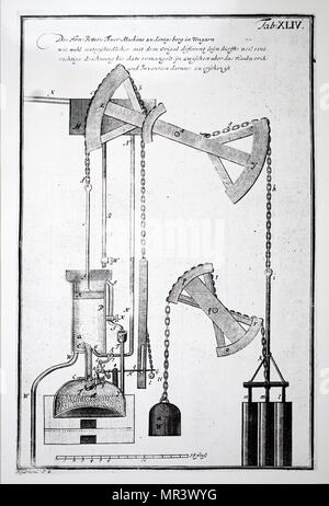 Illustration depicting Isaac Potter's steam engine. Isaac Potter (1690-1735) a British engineer. Dated 18th century - Stock Photo