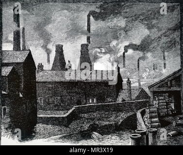 Illustration depicting the pollution within Sheffield, showing the smoking chimneys typical of a 19th century industrial city. Dated 19th century - Stock Photo