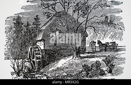 Engraving depicting a rural water-powered flour mill. Dated 19th century - Stock Photo