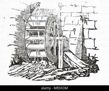 Engraving depicting a water wheel used to drive the machinery at a cotton mill. Dated 19th century - Stock Photo