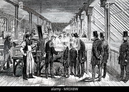 Illustration depicting the Prince of Wales and Prince Alfred visiting Day & Son's work. At this time Days were one of the leading chromolithographers in London. Dated 19th century - Stock Photo
