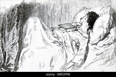 Illustration depicting a Young man falling asleep while reading. Illustrated by Paul Gavarni (1804-1866) a French illustrator. Dated 19th century - Stock Photo