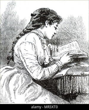 Illustration depicting a young woman engrossed in a book. Dated 19th century - Stock Photo