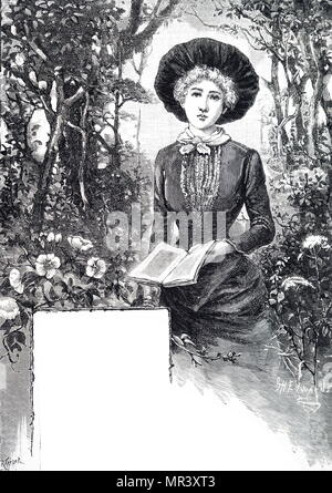 Illustration depicting a young woman reading her book. Dated 19th century - Stock Photo