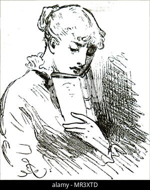 Illustration depicting a young girl reading her book. Dated 19th century - Stock Photo