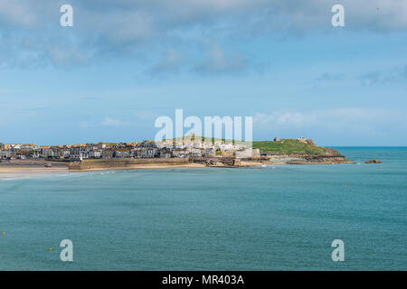 Views from the south west coast path across Porthminster towards St Ives, Cornwall, UK