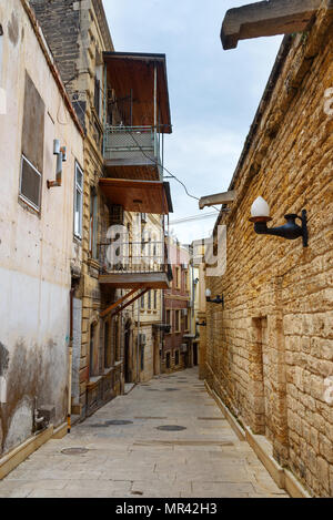 Narrow street in Old city Icheri Sheher in Baku. Azerbaijan - Stock Photo