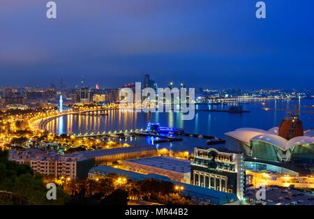 Night view of the city and Baku Seaside boulevard. Baku. Azerbaijan - Stock Photo