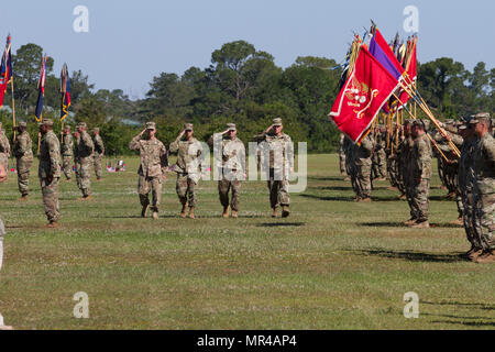 The reviewing party for the 3rd Infantry Division change of command ceremony inspects their troops May 8, 2017 at Cottrell Field, Fort Stewart, Ga. Pictured from left to right: Col. Donn H. Hill, 3rd ID chief of staff, Maj. Gen. Leopoldo A. Quintas, incoming commanding general of 3rd Infantry Division, Gen. Robert B. Abrams, commanding general of U.S. Army Forces Command, and Maj. Gen. Jim Rainey, outgoing commanding general of 3rd Infantry Division. (U.S. Army photo by Sgt. Arjenis Nunez/Released) - Stock Photo