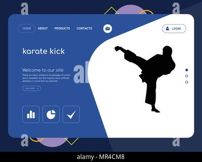 Quality One Page Karate Kick Website Template Vector Eps Modern Web Design With Flat UI