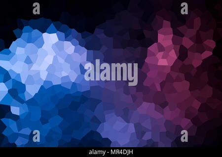 Colorful abstract geometrical composition, geometric pattern from blue and pink various polygons and triangles  on black paper background. - Stock Photo