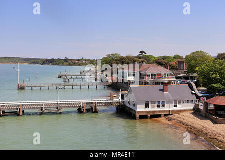 Jetties leading out to the sea at The Coastal Town of Yarmouth in the Isle of Wight, UK - Stock Photo