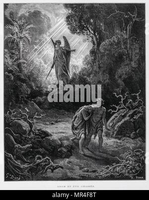 Adam and Eve banished from the Garden of Eden by an angel, Illustration from the Dore Bible 1866. In 1866, the French artist and illustrator Gustave Dore (1832–1883), published a series of 241 wood engravings for a new deluxe edition of the 1843 French translation of the Vulgate Bible, popularly known as the Bible de Tours. This new edition was known as La Grande Bible de Tours and its illustrations were immensely successful - Stock Photo
