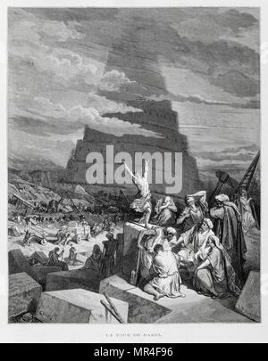 The Tower of Babel, Illustration from the Dore Bible 1866. In 1866, the French artist and illustrator Gustave Dore (1832–1883), published a series of 241 wood engravings for a new deluxe edition of the 1843 French translation of the Vulgate Bible, popularly known as the Bible de Tours. This new edition was known as La Grande Bible de Tours and its illustrations were immensely successful. The Tower of Babel is meant to explain why the world's peoples speak different languages. - Stock Photo