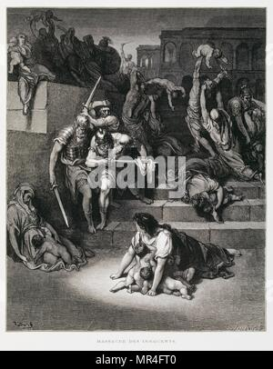 King Herod orders the Massacre of the innocents, Illustration from the Dore Bible 1866. In 1866, the French artist and illustrator Gustave Doré (1832–1883), published a series of 241 wood engravings for a new deluxe edition of the 1843 French translation of the Vulgate Bible, popularly known as the Bible de Tours. This new edition was known as La Grande Bible de Tours and its illustrations were immensely successful. - Stock Photo