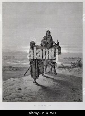 Joseph Mary and Jesus on the flight to Egypt, Illustration from the Dore Bible 1866. In 1866, the French artist and illustrator Gustave Doré (1832–1883), published a series of 241 wood engravings for a new deluxe edition of the 1843 French translation of the Vulgate Bible, popularly known as the Bible de Tours. This new edition was known as La Grande Bible de Tours and its illustrations were immensely successful. - Stock Photo