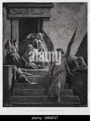 The Angel of death heralds the death of the First born children in Egypt, one of the plagues visited upon Egypt for refusing to free the Jewish people, Illustration from the Dore Bible 1866. In 1866, the French artist and illustrator Gustave Doré (1832–1883), published a series of 241 wood engravings for a new deluxe edition of the 1843 French translation of the Vulgate Bible, popularly known as the Bible de Tours. This new edition was known as La Grande Bible de Tours and its illustrations were immensely successful. - Stock Photo