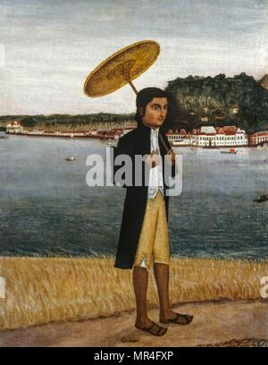 Painting  depicting a young man in European clothes with a parasol. Goa school, 18th Century circa 1795, Indian colonial art - Stock Photo