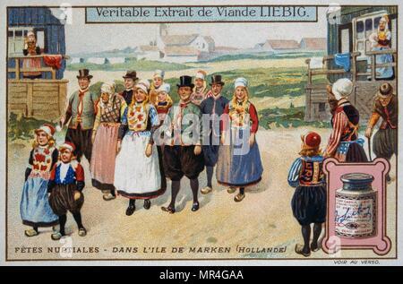 Leibig card depicting a traditional Dutch wedding scene 1900 - Stock Photo