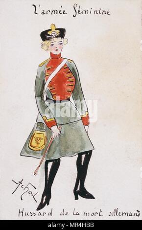 French art nouveau postcard satirising women in military uniform 1900: German Hussar