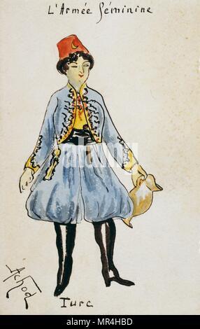 French art nouveau postcard satirising women in military uniform 1900: Turkish soldier - Stock Photo