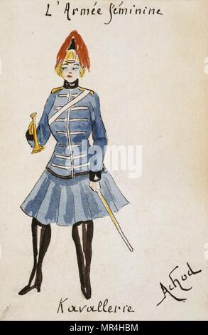 French art nouveau postcard satirising women in military uniform 1900: French cavalry - Stock Photo
