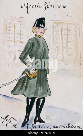 French art nouveau postcard satirising women in military uniform 1900: Austrian Infantry - Stock Photo