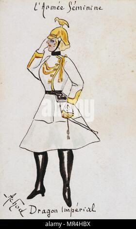 French art nouveau postcard satirising women in military uniform 1900: German Imperial dragoon - Stock Photo
