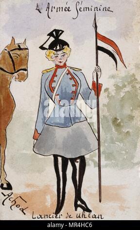 French art nouveau postcard satirising women in military uniform 1900: Belgian lancer - Stock Photo