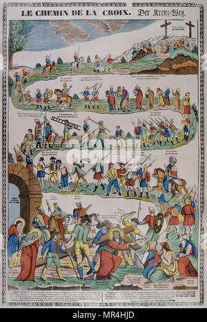 Coloured woodblock illustration showing the Stations of the Cross. The journey Christ took to his crucifixion. French circa 1850 - Stock Photo