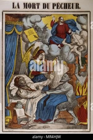 Coloured woodblock illustration showing a Catholic religious interpretation of the death of a sinner. French circa 1850 - Stock Photo