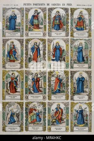 French 19th century, coloured woodblock illustration showing female catholic saints. - Stock Photo