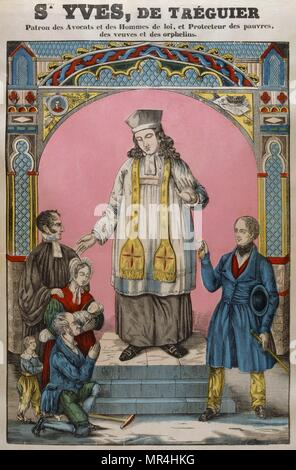 French 19th century, coloured woodblock illustration showing Saint Ivo of Kermartin (1253 - 1303), also known Yvo or Ives, was a parish priest among the poor of Louannec, and the patron of Brittany, lawyers and abandoned children. - Stock Photo