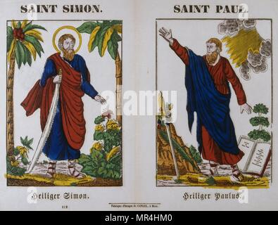 French 19th century, coloured woodblock illustration showing Saint Simon and Saint Paul. - Stock Photo