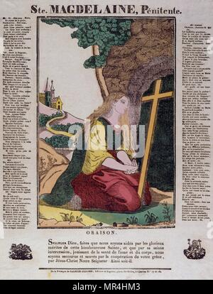 French 19th century, coloured woodblock illustration showing the penitent Saint Mary Magdalene, who, according to texts included in the New Testament, travelled with Jesus as one of his followers. - Stock Photo