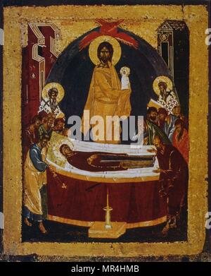 14th century Russian orthodox icon showing the death of the Virgin Mary. Jesus looks on as the Virgin is laid on her deathbed. - Stock Photo