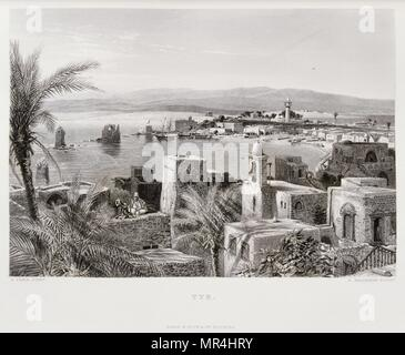 Engraving by Victor Guerin (1821 - 1891) depicting the port of Tyre in Lebanon. 1875 - Stock Photo