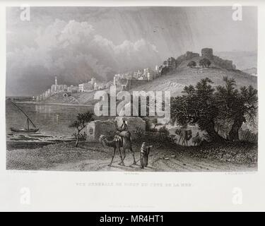 Engraving by Victor Guerin (1821 - 1891) depicting the port of Sidon, Lebanon. 1875 - Stock Photo
